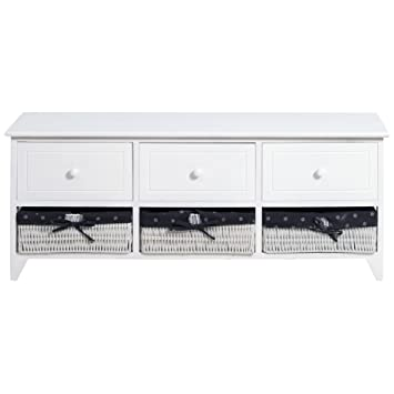 Rebecca Mobili Bench Low Cabinet Chest Of Drawers Glossy White 3 Drawer  Wooden Round Knobs 3