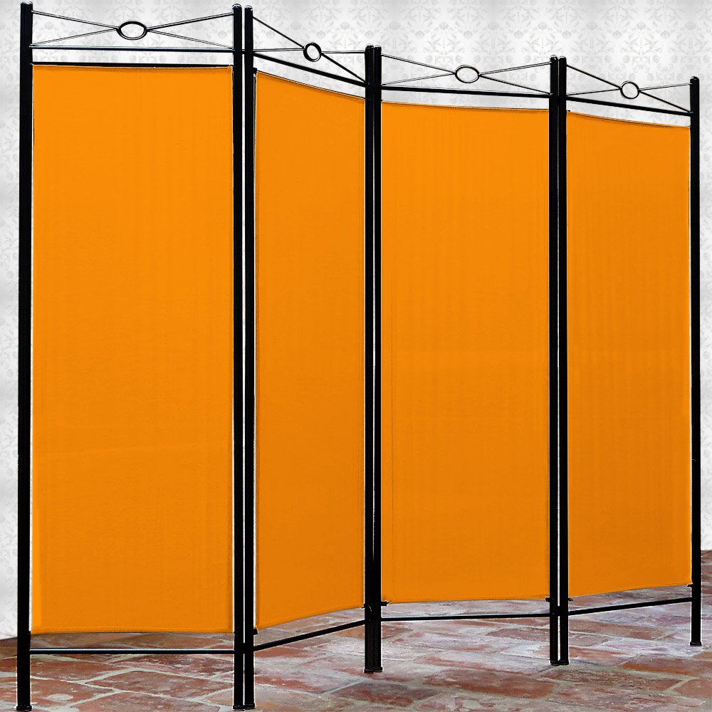 Deuba Paravent Divider Screen 4 Panel Room Folding Partition Furniture Paravent - Colour Choice Yellow