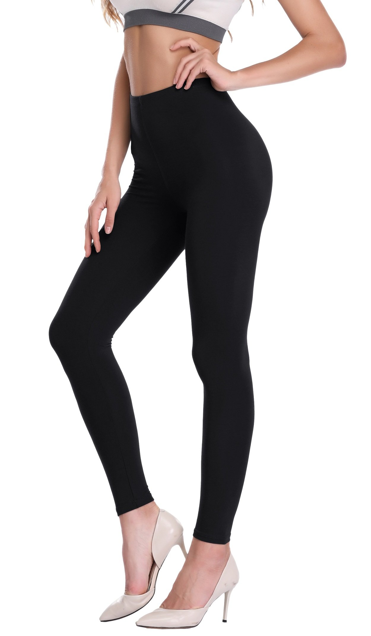 PENGEE Women's Extra Soft Ankle Length Leggings Modal Full Length Pants with High Waist