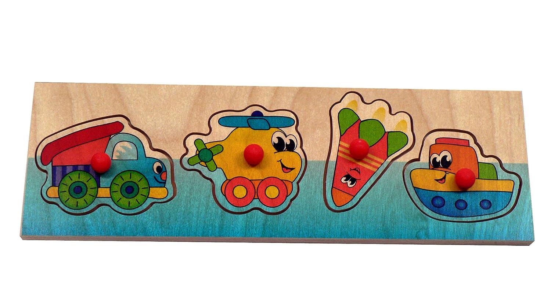 Puzzle mit Griff | Fahrzeuge 4 Teile aus Holz, Steckpuzzle mit Griffen, Lernspiel, Holzspielzeug, Griffpuzzle - Motorikspiel - Motorik - Puzzle - für Kinder