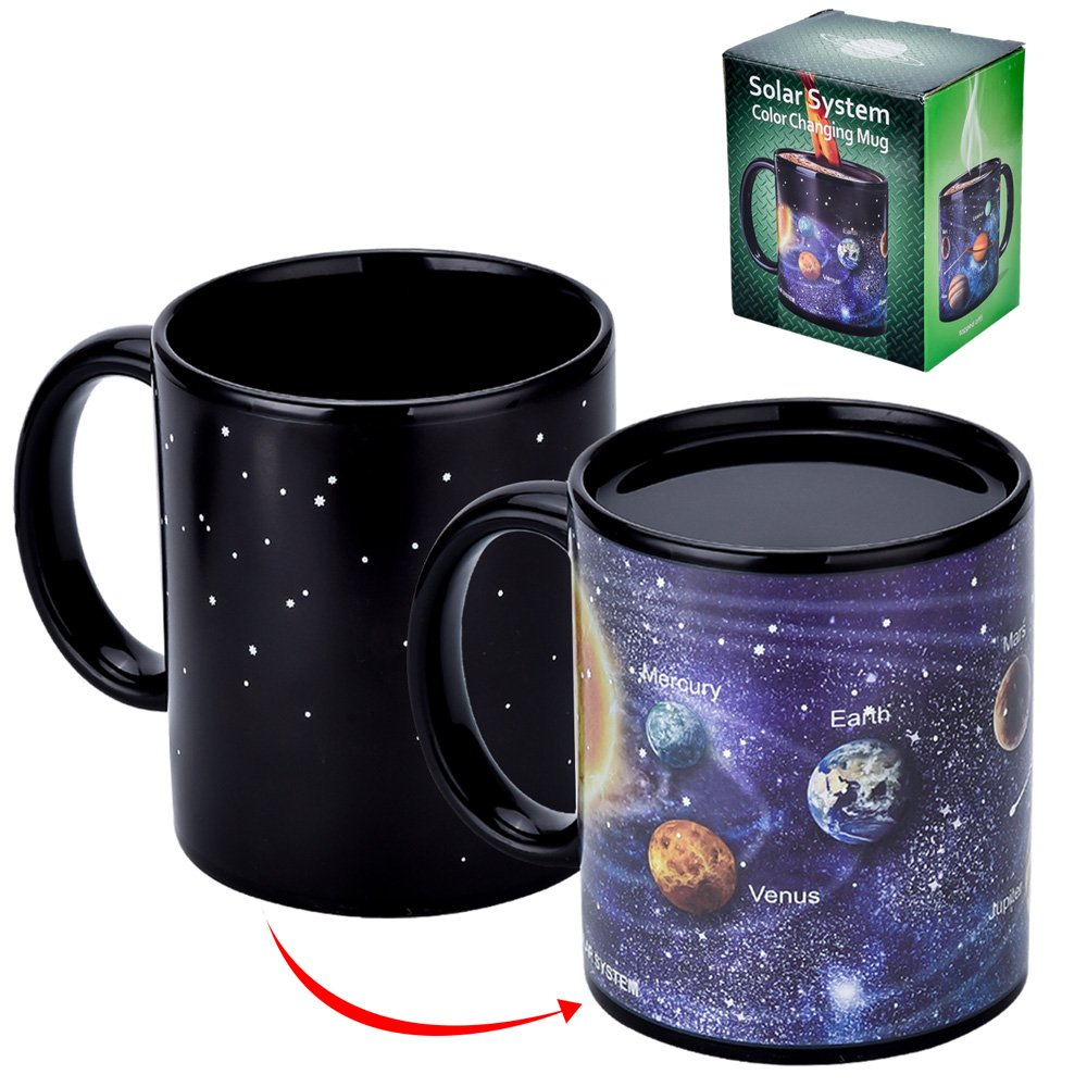 Antner Magic Coffee Mug Solar System Ceramic Heat Sensitive Color Changing Cup,12 Ounce