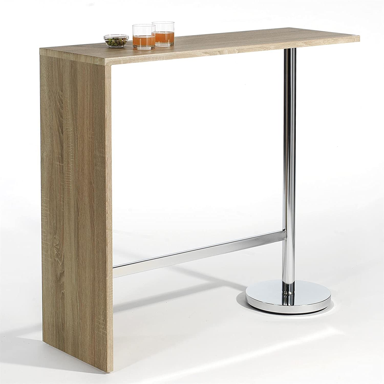 IDIMEX Table Haute de Bar Ricardo Mange-Debout comptoir piètement ...