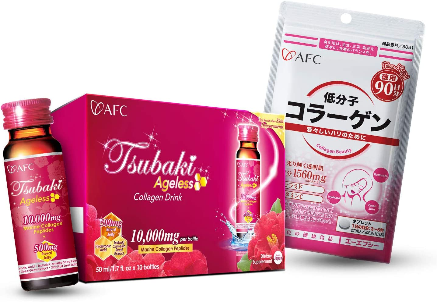 AFC Japan Tsubaki Ageless Beauty Collagen Drink with 10,000mg Marine Collagen Peptides & Royal Jelly + Collagen Beauty, 270ct Pills, for Anti-Aging, Skin Revitalization, Hair, Nails & Joints Health
