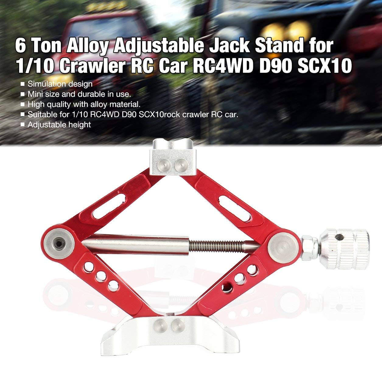 Dailyinshop 6 Tonne Aluminiumlegierung Metall Einstellbare Jack Stand Reparatur Rack für 1/10 Skala Offroad Crawler RC Auto RC4WD D90 SCX10 (Farbe: Rot)
