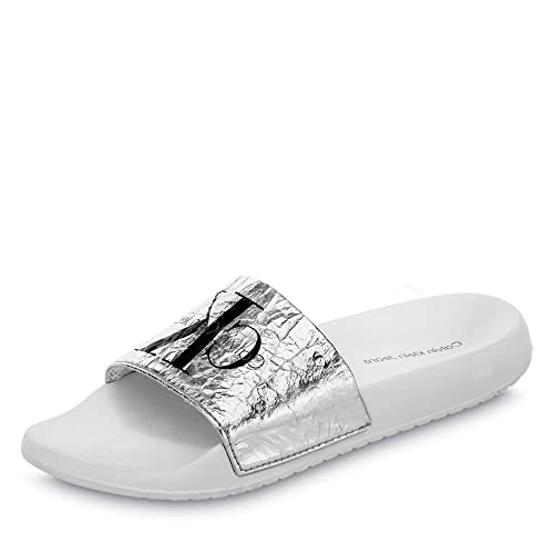 4010d52a0d Calvin Klein Chantal Metallic Crinkle Donna Sandali Scorrevoli ...