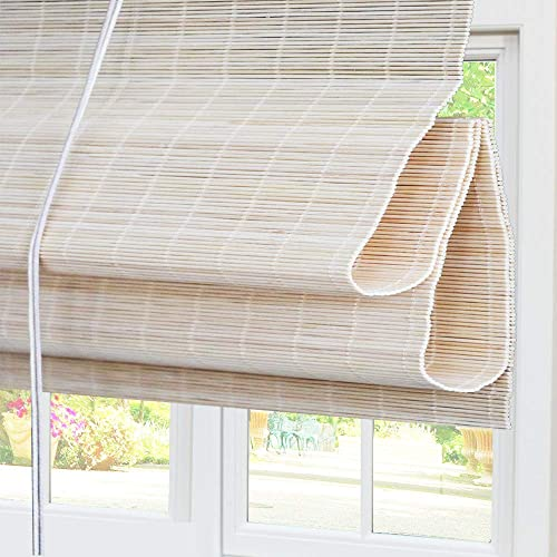 Bamboo Roman Window Shades Blinds, Light Filtering UV Protection Shades with Valance, 20 W x 36 L, Pattern 5
