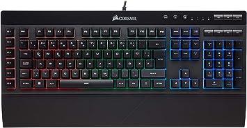 Corsair K55 RGB - Teclado (Alámbrico, USB, Interruptor de Membrana, QWERTZ, LED RGB, Negro)