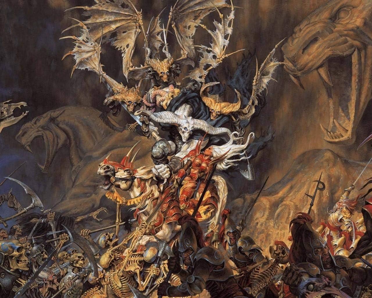 Kpoiuy Paquete De Pintura por NúMero En Lienzo Pintura Al óLeo Esqueletos Demonio Soldados Caballos De Batalla Cuadros Pintados A Mano del Arte del Colorante De AcríLico para La Sala De Estar