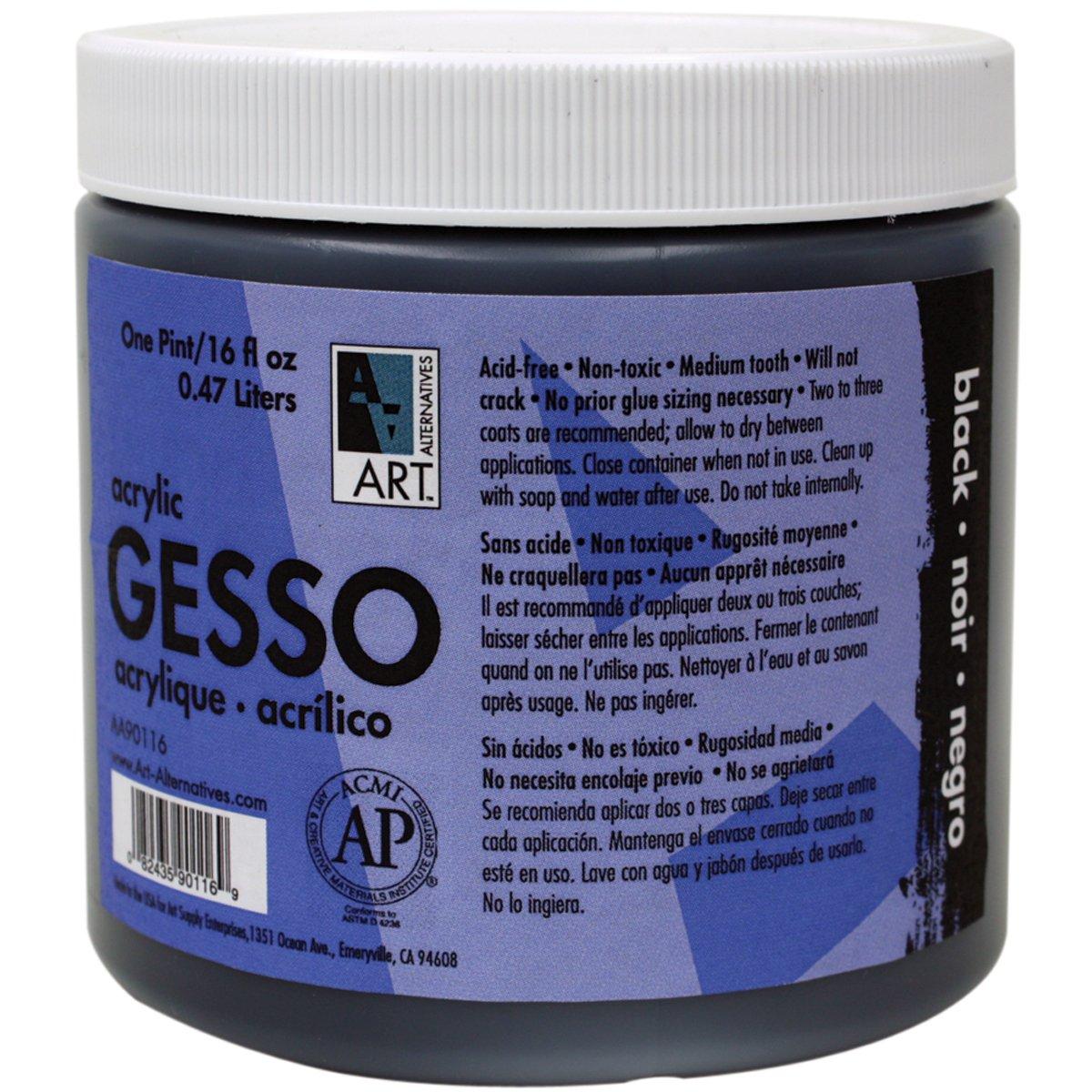 Art Alternatives Black Acrylic Gesso - 16oz Jar,1-Pack