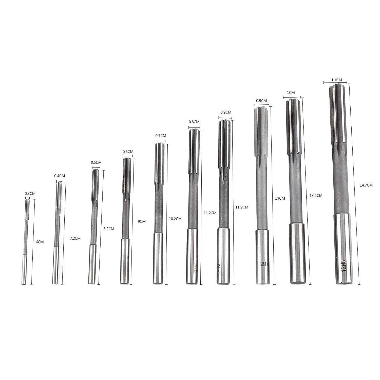 PRINDIY 10 Piezas de Mandril de v/ástago Recto HSS H8 escariador de m/áquina 3//4//5//6//7//8//9//10//11 12mm escariadores de v/ástago de v/ástago Recto