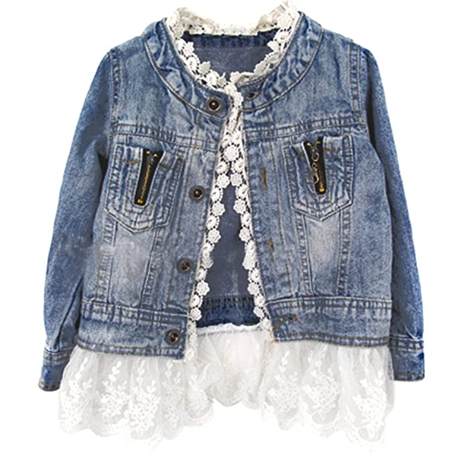 ESHOO Chicas Denim abrigo chaqueta Outwear cordón inferior vaquero ropa 2-7 años: Amazon.es: Bebé