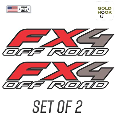 GOLD HOOK Set of 2-2003 Ford F150 FX4 Off Road Decals F Truck Stickers Bed Side Graphic: Clothing