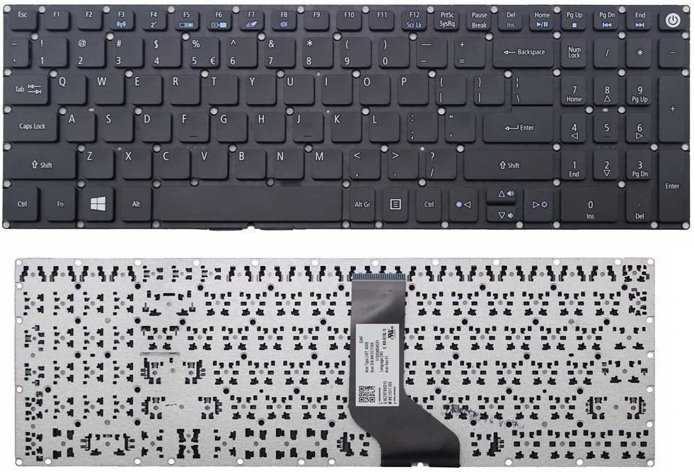 New US Black Laptop Keyboard (Without Frame) Replacement for Acer Aspire E15 E5-575 E5-575G E5-575-54FX E5-575G-55NW