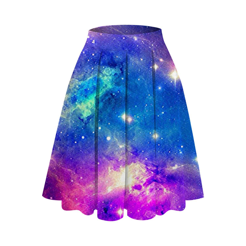 UNIFACO Women's 3D Digital Print Midi Skirt High Waisted Knee Length Pleated A Line Skirts, S-XL