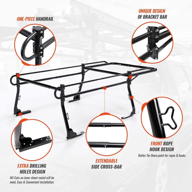 Lumber Utility Pipe Racks AA-Racks Model X31 Truck Bed Ladder Racks for Pickups with 30 Side Bar Over Cab Ext Matte Black