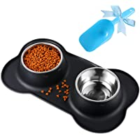 Bonve Pet Comedero para Perro Gato y Mascotas de Acero Inoxidable, Base de Silicona Antideslizante, Dos Cuencos Comedero para Comida y Agua (900ml para Cada tazón)