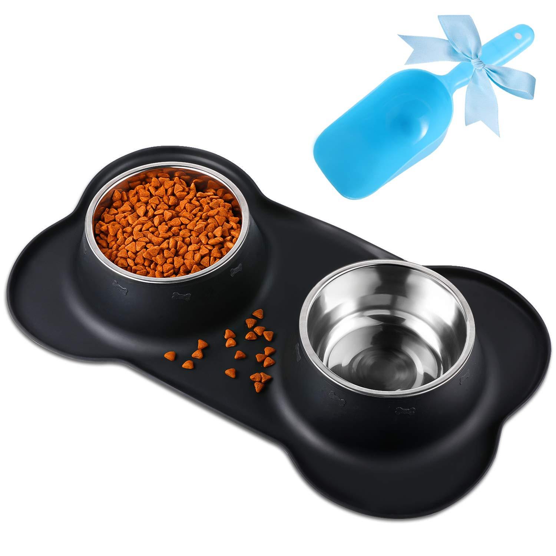 Bonve Pet Comedero para Perro Gato y Mascotas de Acero Inoxidable, Base de Silicona Antideslizante