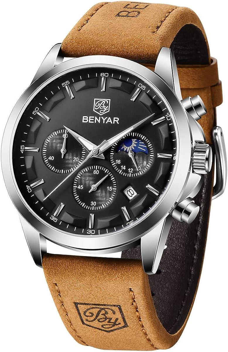 BY BENYAR Cronógrafo Reloj para Hombre Movimiento de Cuarzo Fashion Business Sports Watch 30M Impermeable Elegante Regalo de los Hombres