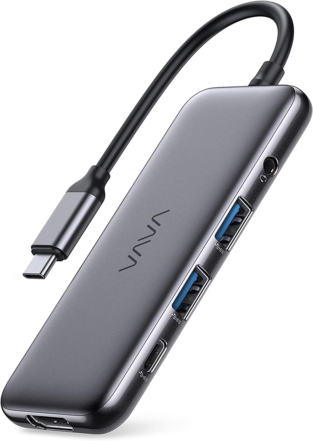 VAVA USB-C Hub, 8-in-1 USB-C Adapter, with 4K 60Hz HDMI, USB-C and USB-A 5Gbps Data Ports, 100W Power Delivery, SD/TF Card Slots, Headphone Jack, for MacBook Pro/iPad Pro/Type-C Devices