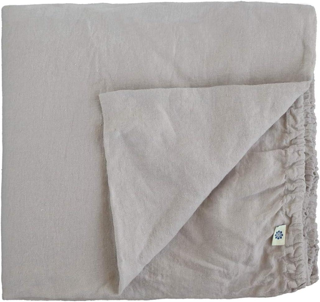Linen & Cotton Sábana Bajera Ajustable Alicia Muy Suave - 100% Puro Lino Lavado a la Piedra, 150 x 200cm (King), Gris
