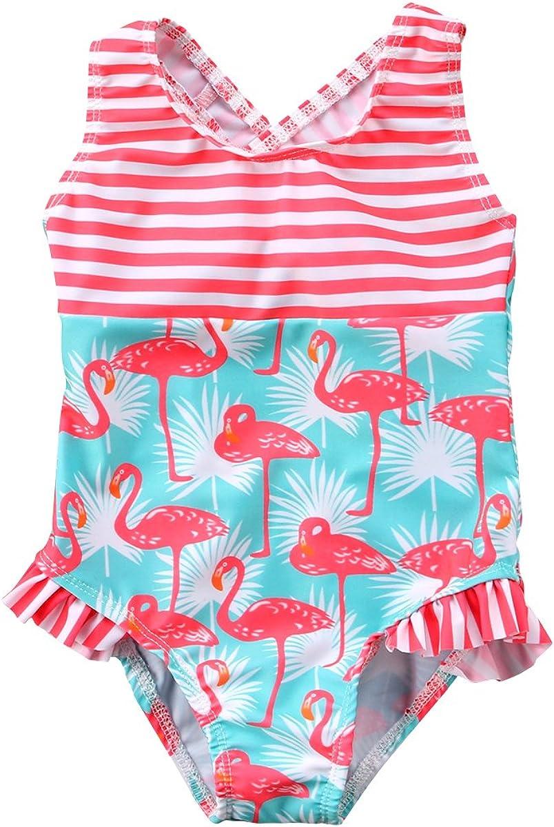 Puloru Toddler Baby Girl One-Piece Swimsuit Romper Flamingo Striped Bikinis Bathing Suit Swimwear Outfit