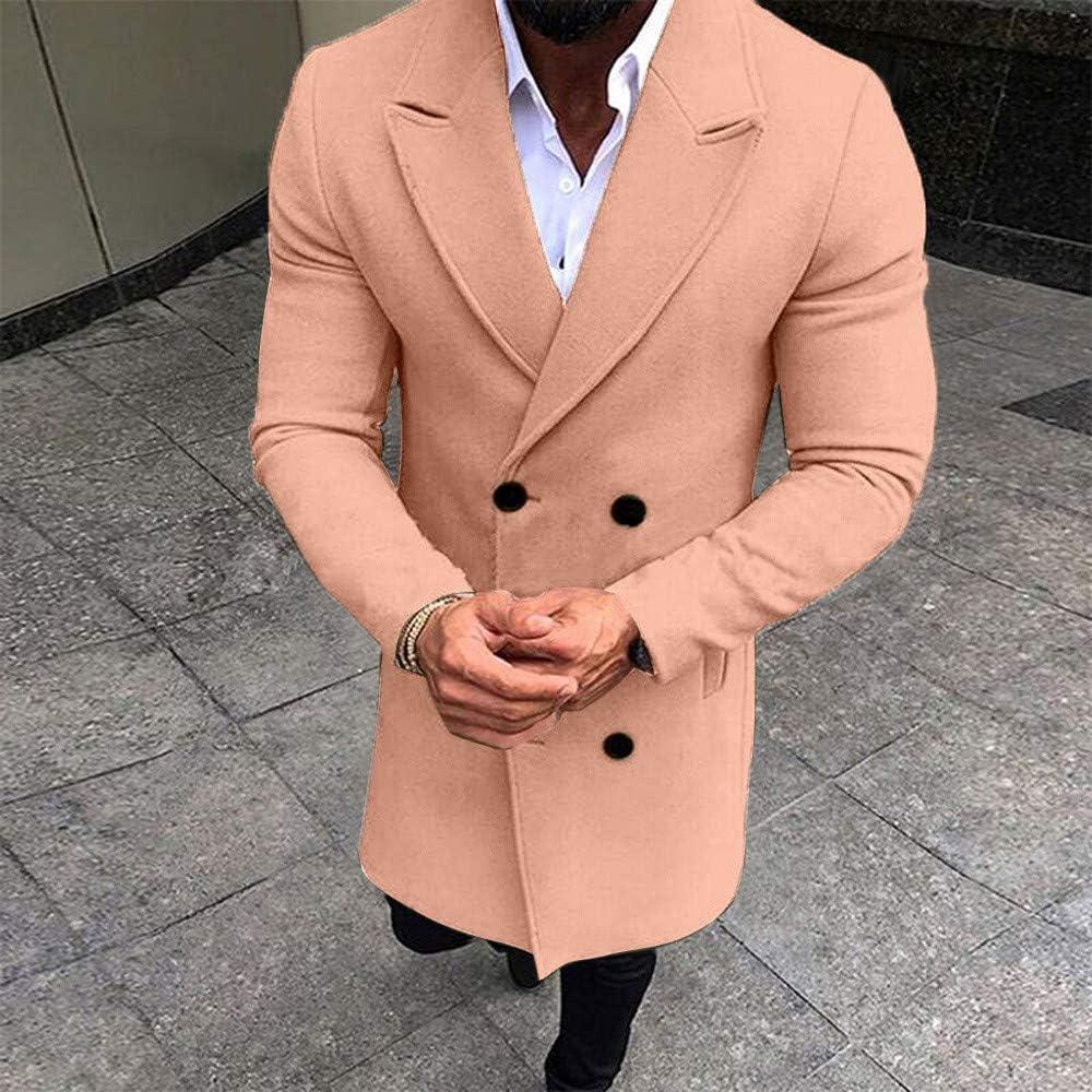 Fashionhe Mens Lapel Windbreaker Winter Trench Coat Long Outwear Button Slim Overcoat Jacket