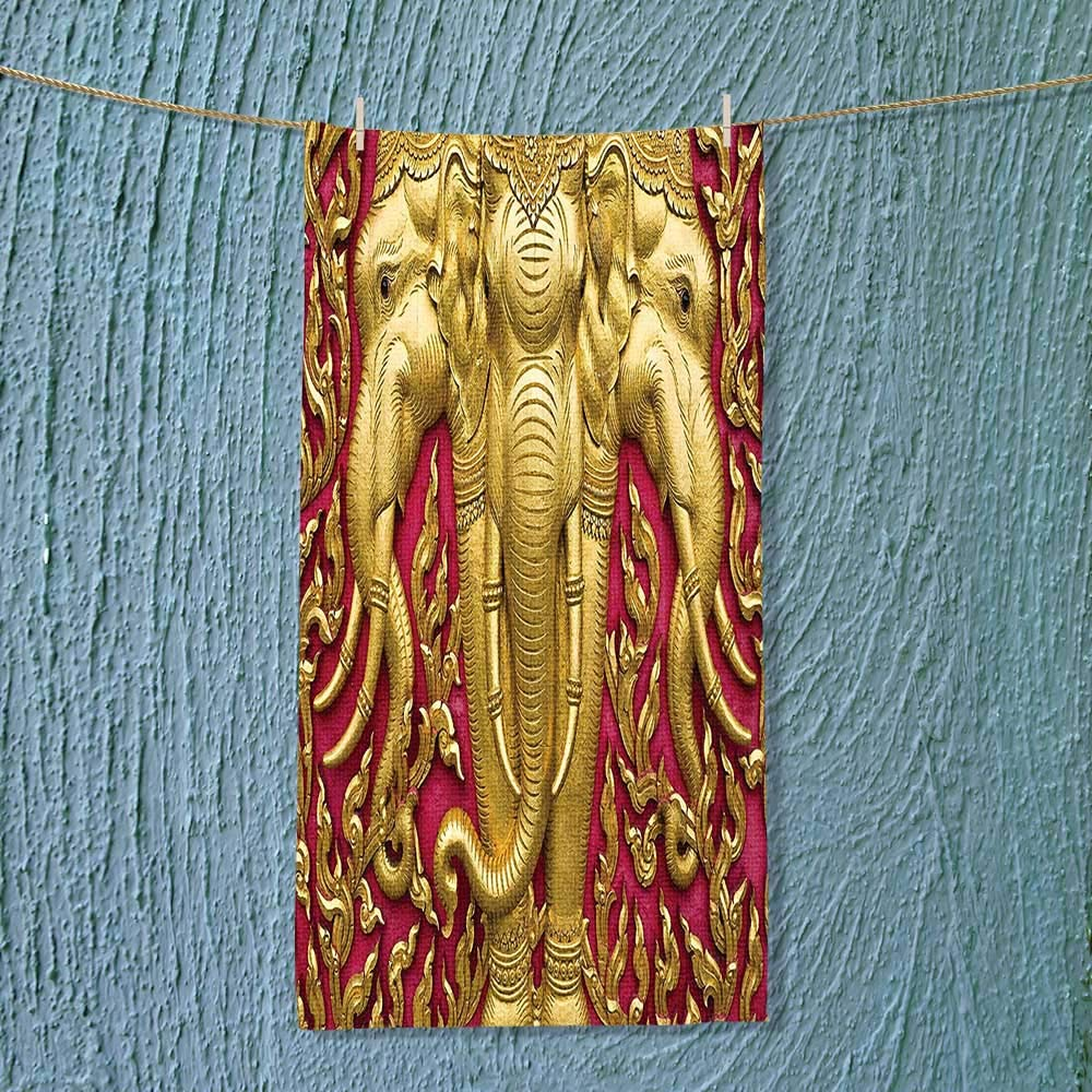 SOCOMIMI Gym Shower Towel Elephant Carved Gold Paint on Door Thai Temple Spirituality Statue Classic Image Magenta Soft Cotton Machine Washable