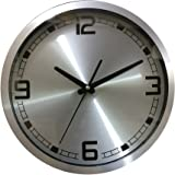 1 Stop Exclusive Aluminium Round Shape Simple Design 30 Cm X 30 Cm Sweep Wall Clock For Home And Office 008 (Silver)