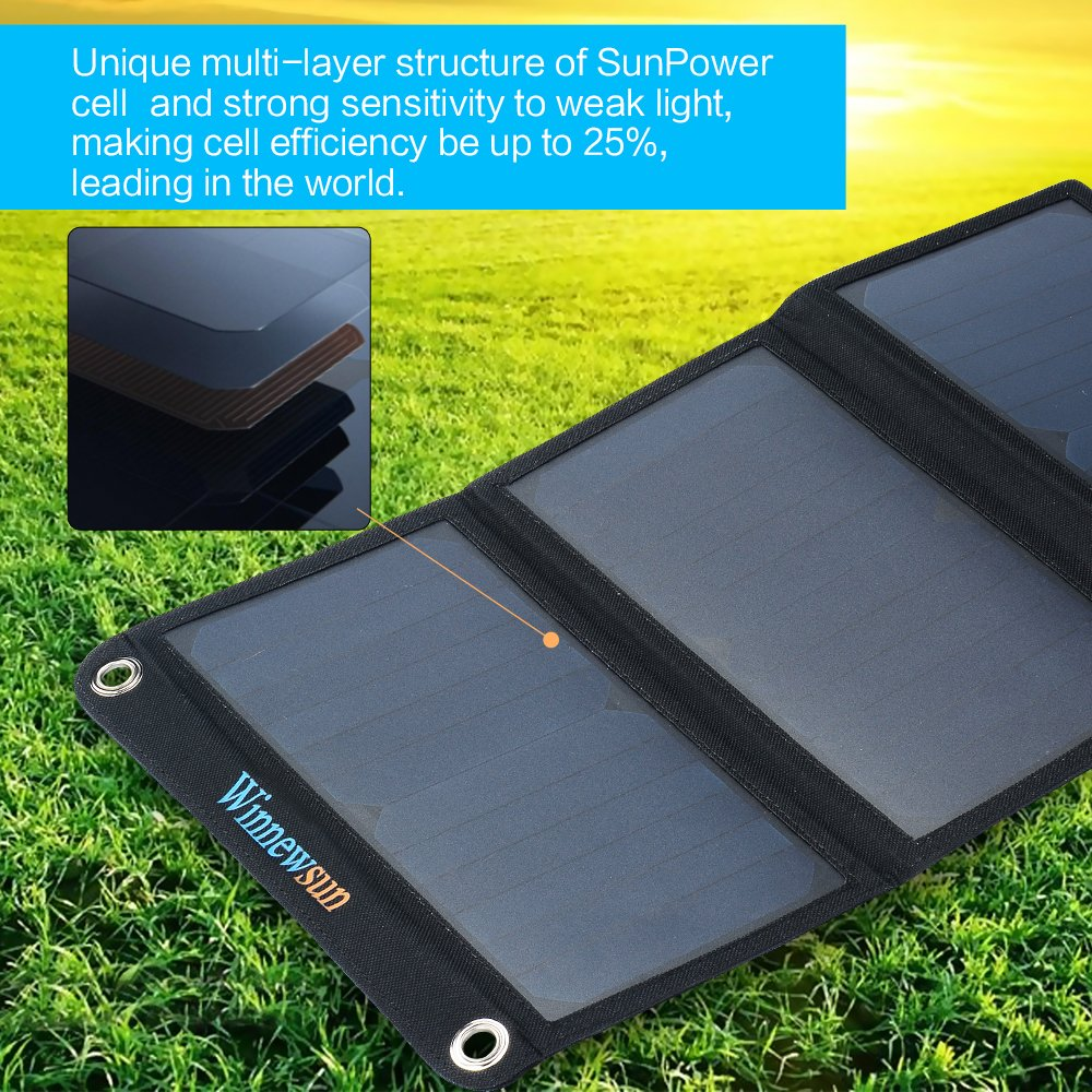 Foldable Solar Charger 21W for cell phones, iphone, iPad, iPods and Android 5V USB Charging devices with High Efficiency SunPower foldable Solar Panel Charger by Winnewsun (Image #3)