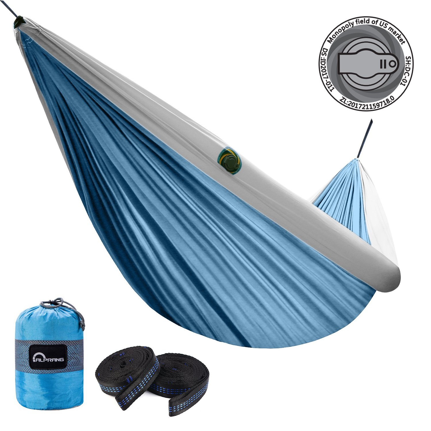 ALPRANG 2018 Upgrade Inflatable Hammock, Portable Foldable Nylon Hammock with Tree Hanging Straps- The Best Double Hammock for Camping, Hiking, Beach, Travel, Backpacking (Lake Blue) by ALPRANG