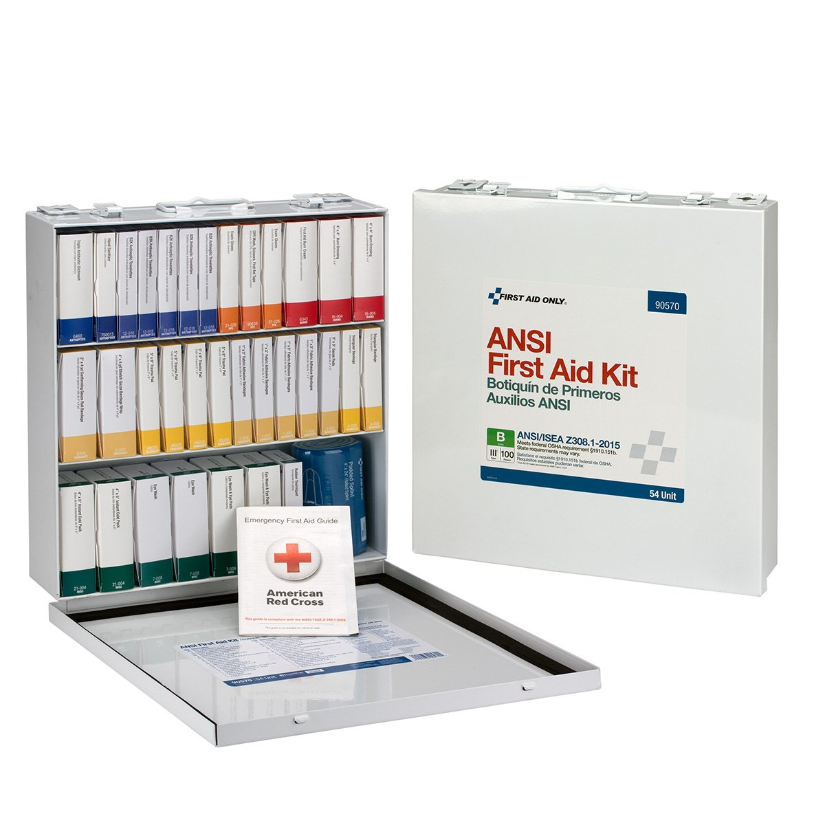 First Aid Only 90570 ANSI 2015 Compliant 54 Unit Class B First Aid Kit, Metal, Weatherproof by First Aid Only (Image #6)