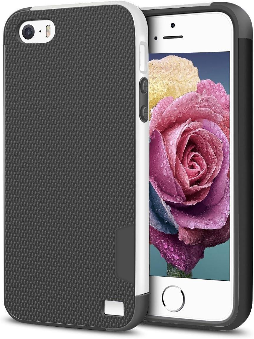 EXSEK iPhone 5/5S SE(2016) Case, Hybrid Impact Ultra Slim 3 Color Case [Extra Front Raised Lip] Scratch Resistant Soft Gel Bumper Rugged Case for iPhone SE(2016) 5/5S (Dark Grey+White+Black)