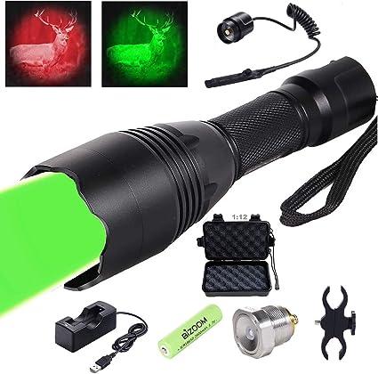 VASTFIRE Zoomable Green Red Flashlight Predator Varmint Hog Hunting Light Torch
