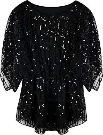 Womens New Ex Quiz Black Glitter Sparkly Bell Sleeve Peplum Top Size 8-16