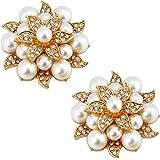 ElegantPark Fashion Shoe Clips for Pumps Pearl Rhinestone Flower Crystal Party Wedding Shoe Accessories Clips