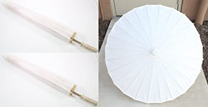 Pair of 23 Inch Tall White Wood Bamboo Paper Umbrella Parasol Backyard Decoration Gift