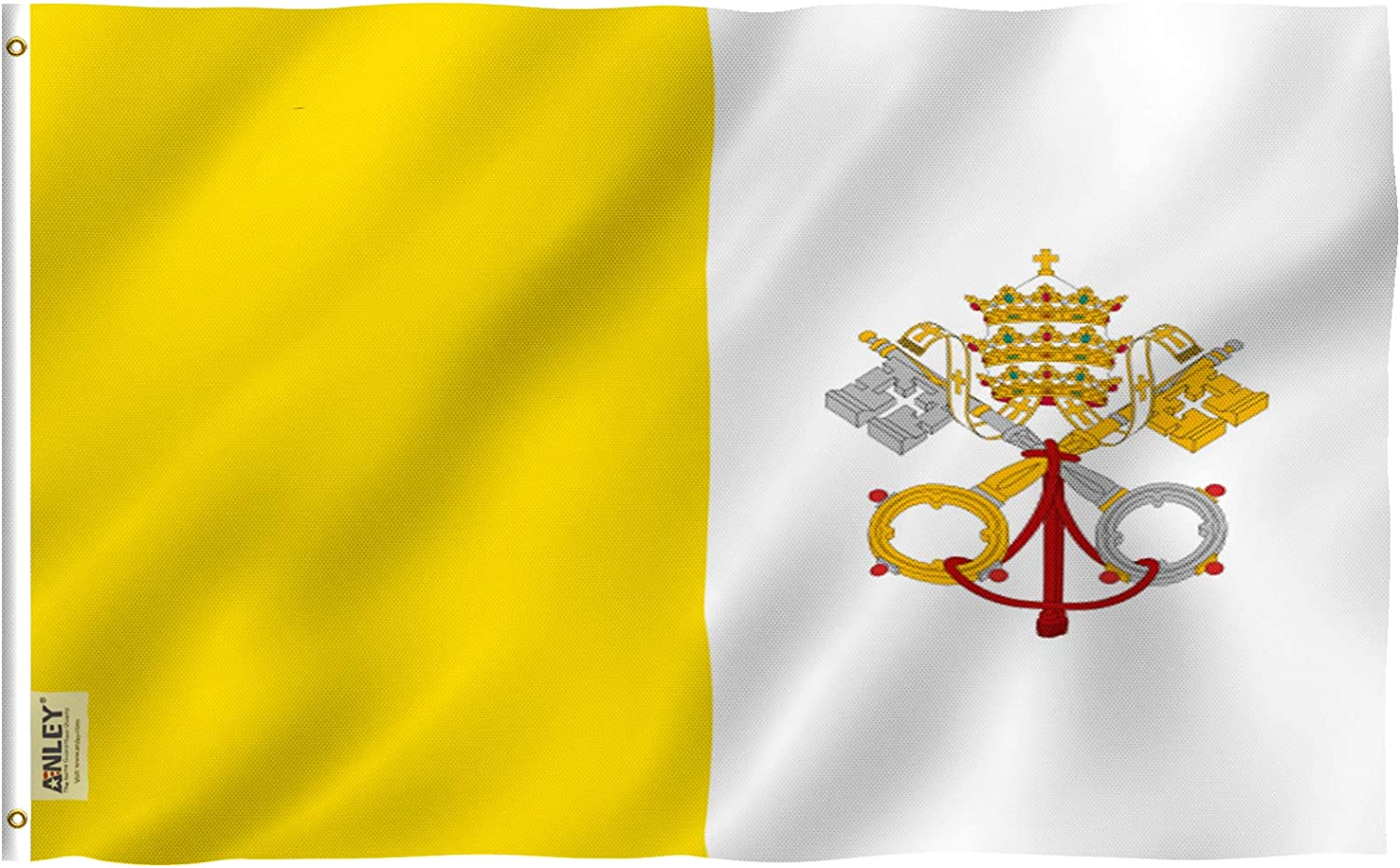 Anley Fly Breeze 3x5 Foot Vatican Flag - Vivid Color and Fade Proof - Canvas Header and Double Stitched - State of Vatican City Flags Polyester with Brass Grommets 3 X 5 Ft