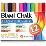 Blami Arts Chalk Markers for Kids & Artists Extra GOLD and SILVER Ink Pens 12 Bright Vibrant Liquid chalk paint - reversible Bullet & Chisel Fine Tip Free Your Imagination with Chalkboard Marker Now!