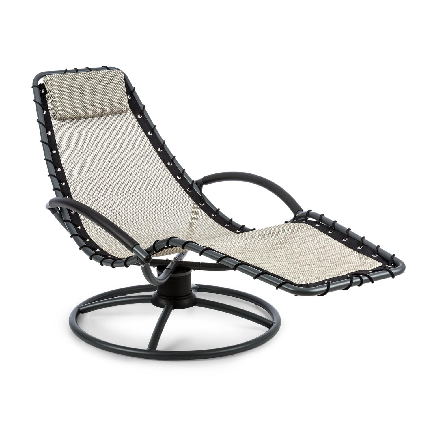 Blumfeldt The Chiller Swing Lounger Garden Lounger Deck Chair 77 x 85 x 173 cm Easy Care and Weatherproof 360 ° Comfort Swing Motion ComfortMesh Sturdy Tubular Steel Beige