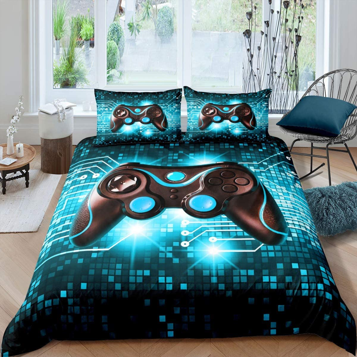 Boys Gamer Controller Comforter Cover,Gaming Gamepad Bedding Set Kids Teens,Game Room Decor Duvet Cover,Video Games Action Buttons Quilt Cover Youth Children,Modern Technology Twin Size