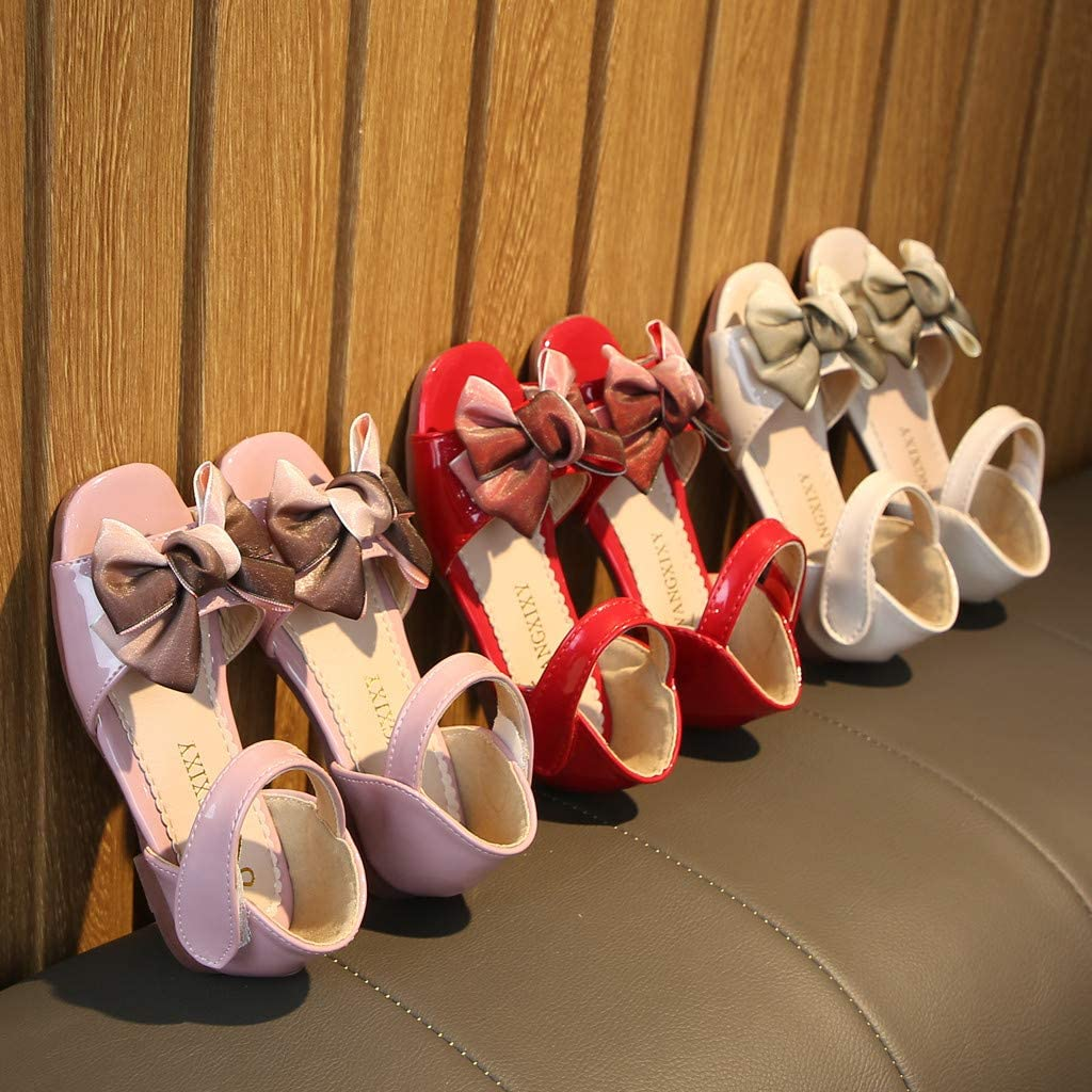 Oneskyside Kids Baby Girls Elegant Sweet Bowknot Princess Single Shoes Party Dress Up Solid Open Toe Sandals