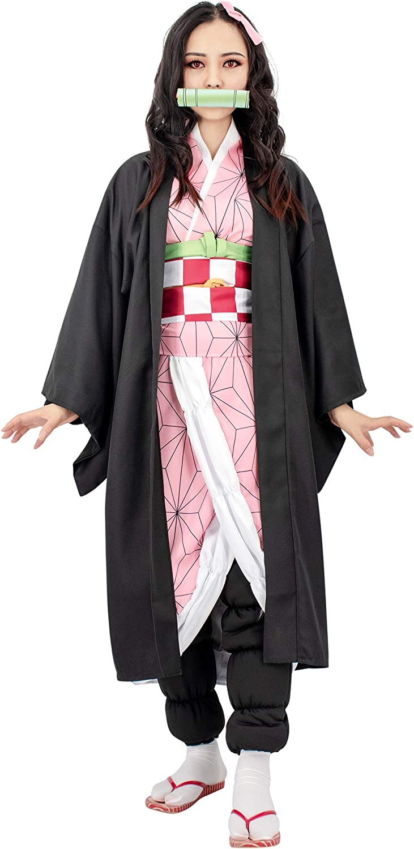 C-ZOFEK Demon Slayer Kimetsu no Yaiba Kamado Nezuko Cosplay Costume Womens Kimono Outfit