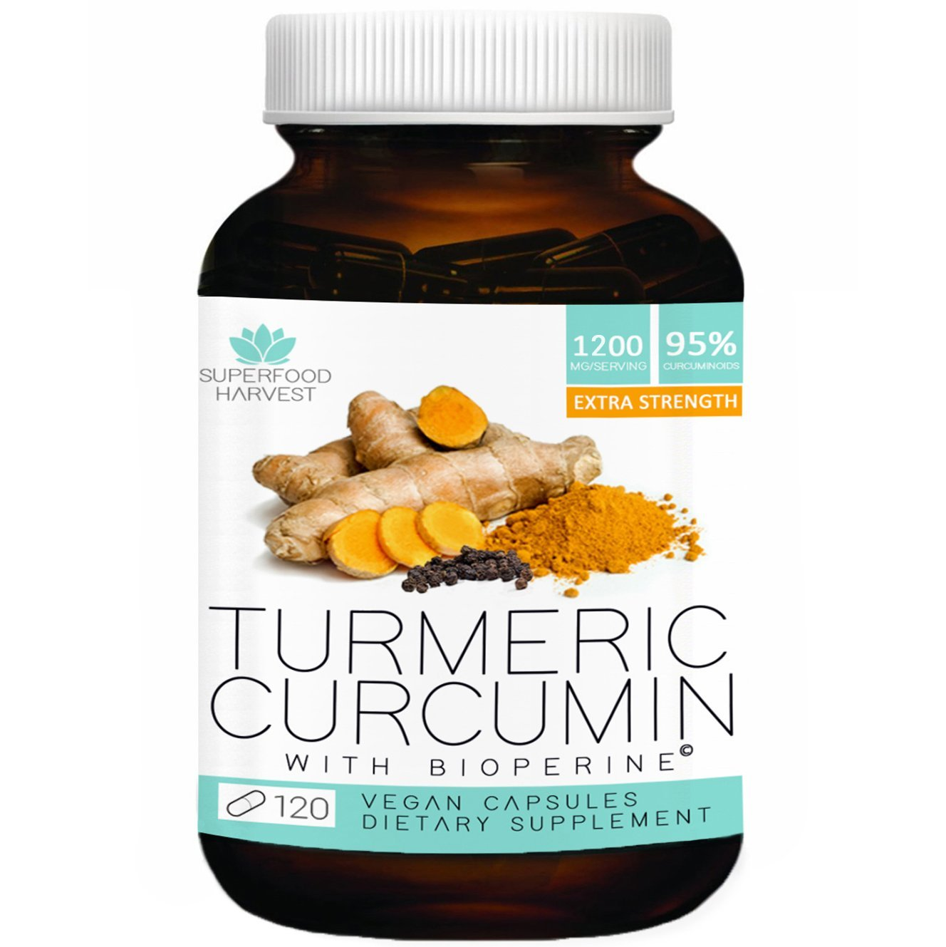 Organic Turmeric Curcumin with Bioperine® - 1200mg ( 120 Capsules ) - Extra Strength Pain Relief & Joint Support Supplement - Non-GMO , Made in the USA
