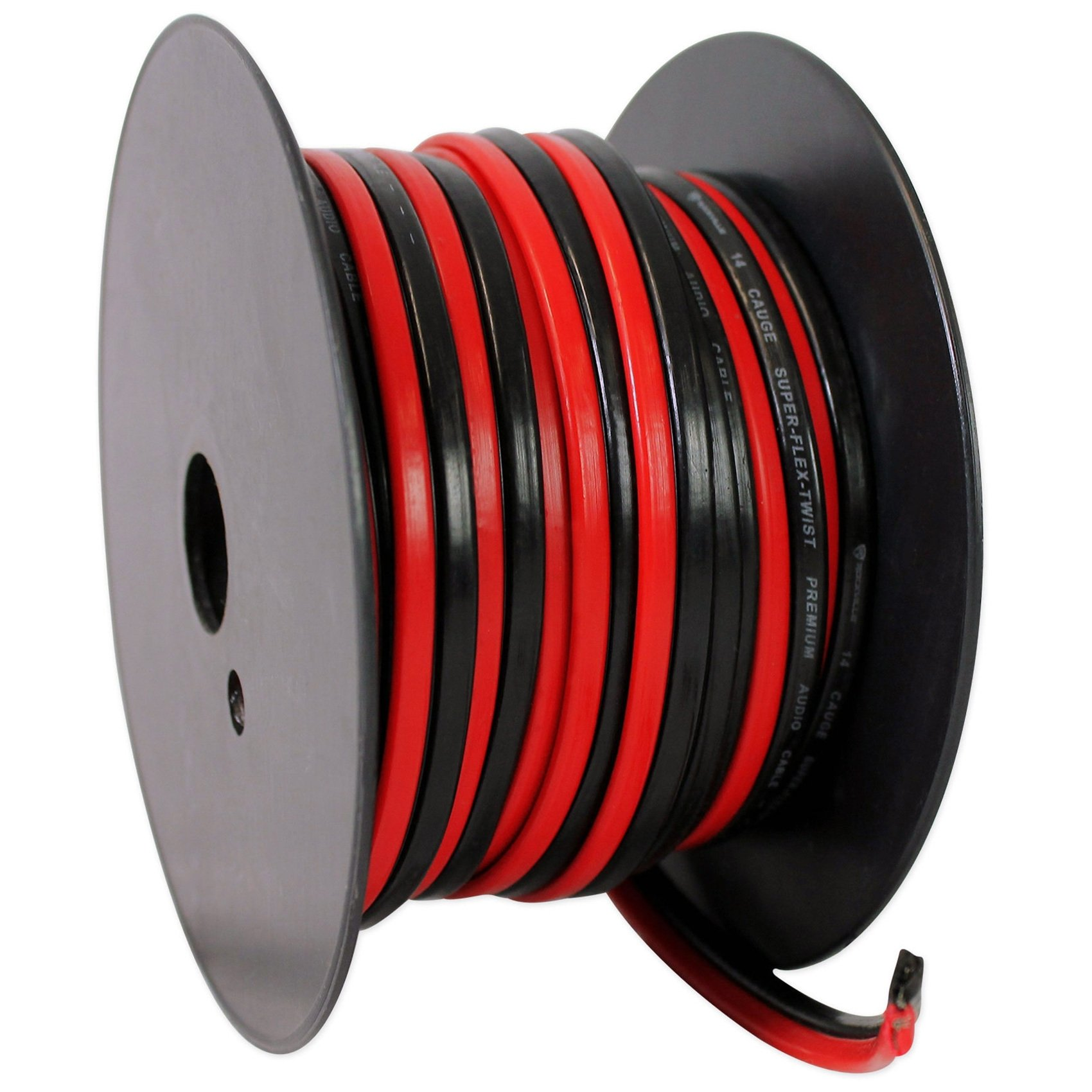 Rockville R14GSBR50 Red/Blk 14 Gauge 50' Ft. Mini Spool Car Audio Speaker Wire