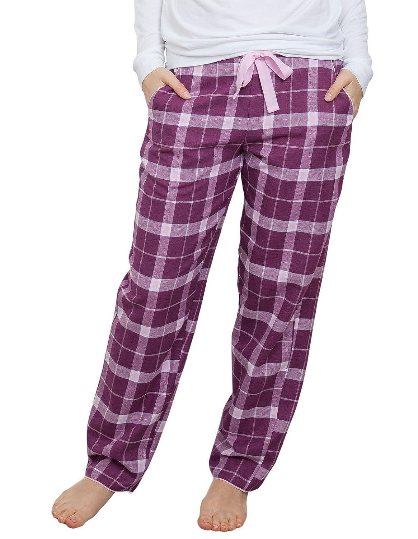 TALLA 36. Cyberjammies 3832 Women's Fiona Magenta Purple Check Pajama Pyjama Pant
