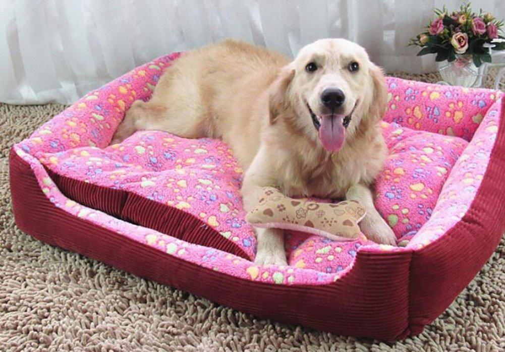 Enzhe Pet Design Incantevole Tappetino per Animali Domestici di Alta qualità per cucce di Alta qualità -rosa rosso XL
