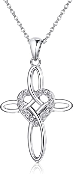 Sterling Silver necklace pendant set celtic cross religious style diamond alternative rhinestone rolo cable chain 18 in womens fine jewelry