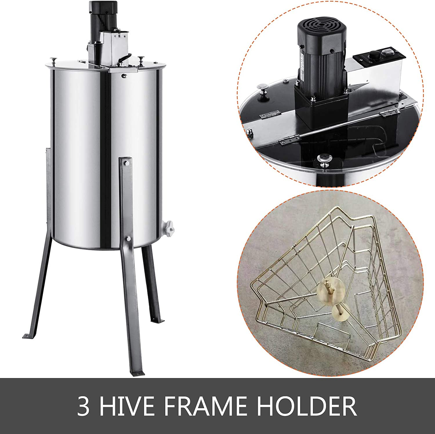 VEVOR 3 Frame Electric Honey Extractor Separator Stainless Steel Bee Extractor Stainless Steel Honeycomb Spinner Crank Beekeeping Extraction Apiary Centrifuge Equipment