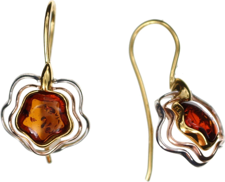 Pendientes modernos y móviles con ámbar natural, engaste de plata de ley 925/000 parcialmente rodiada, parcialmente bañados en oro (rosa y amarillo) de Artisana.