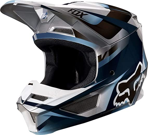 Fox Racing V1 Motif Youth Boys Off-Road Motorcycle Helmet - Blue/Gray/Medium